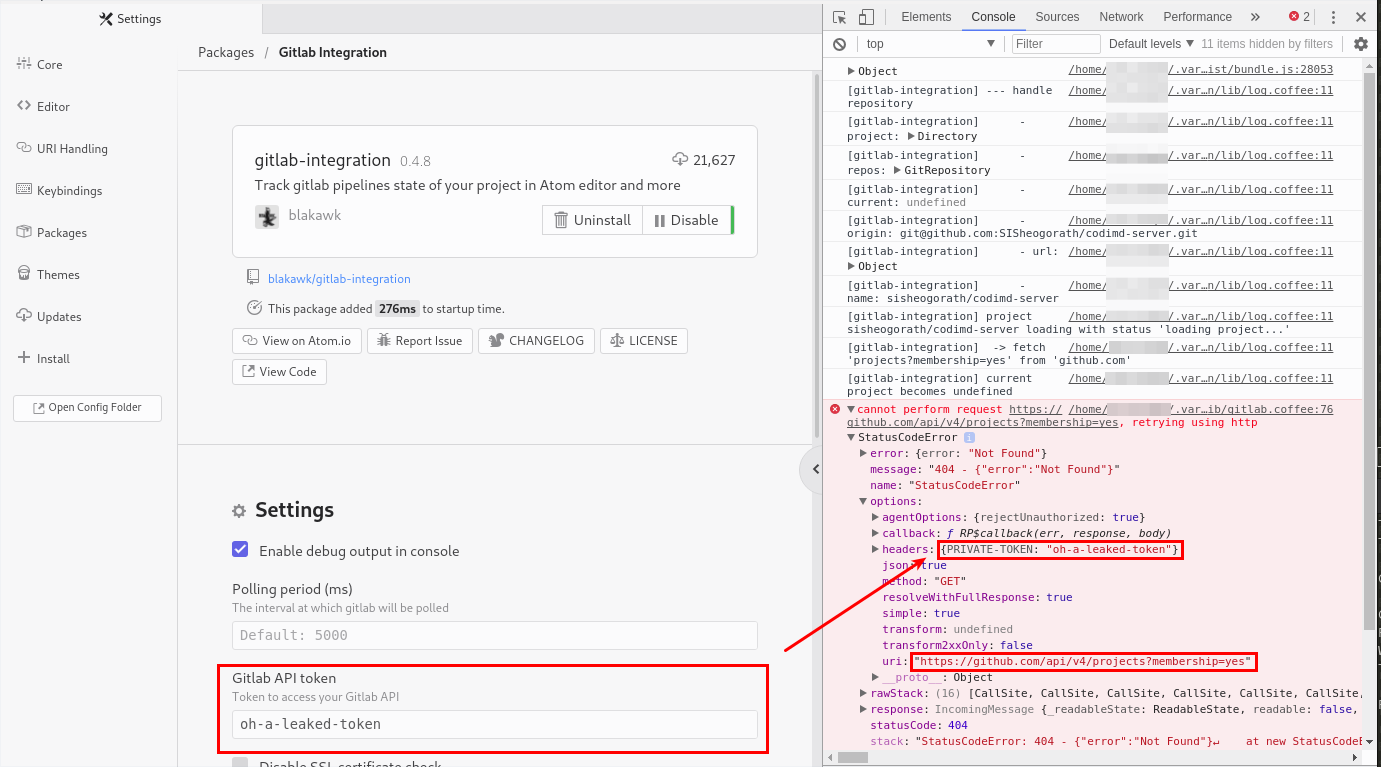 Screenshot showing token in configuration that is also showing up in a HTTP-GET request to `github.com`