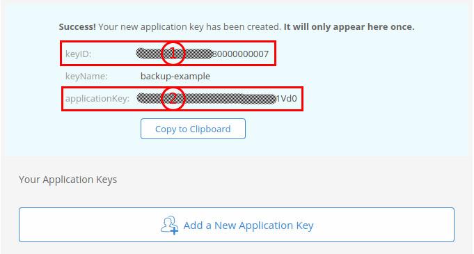 Backblaze app-key secret