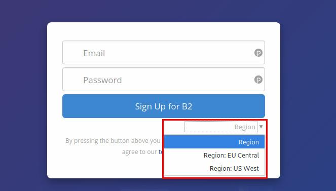 Backblaze sign-up form region setting