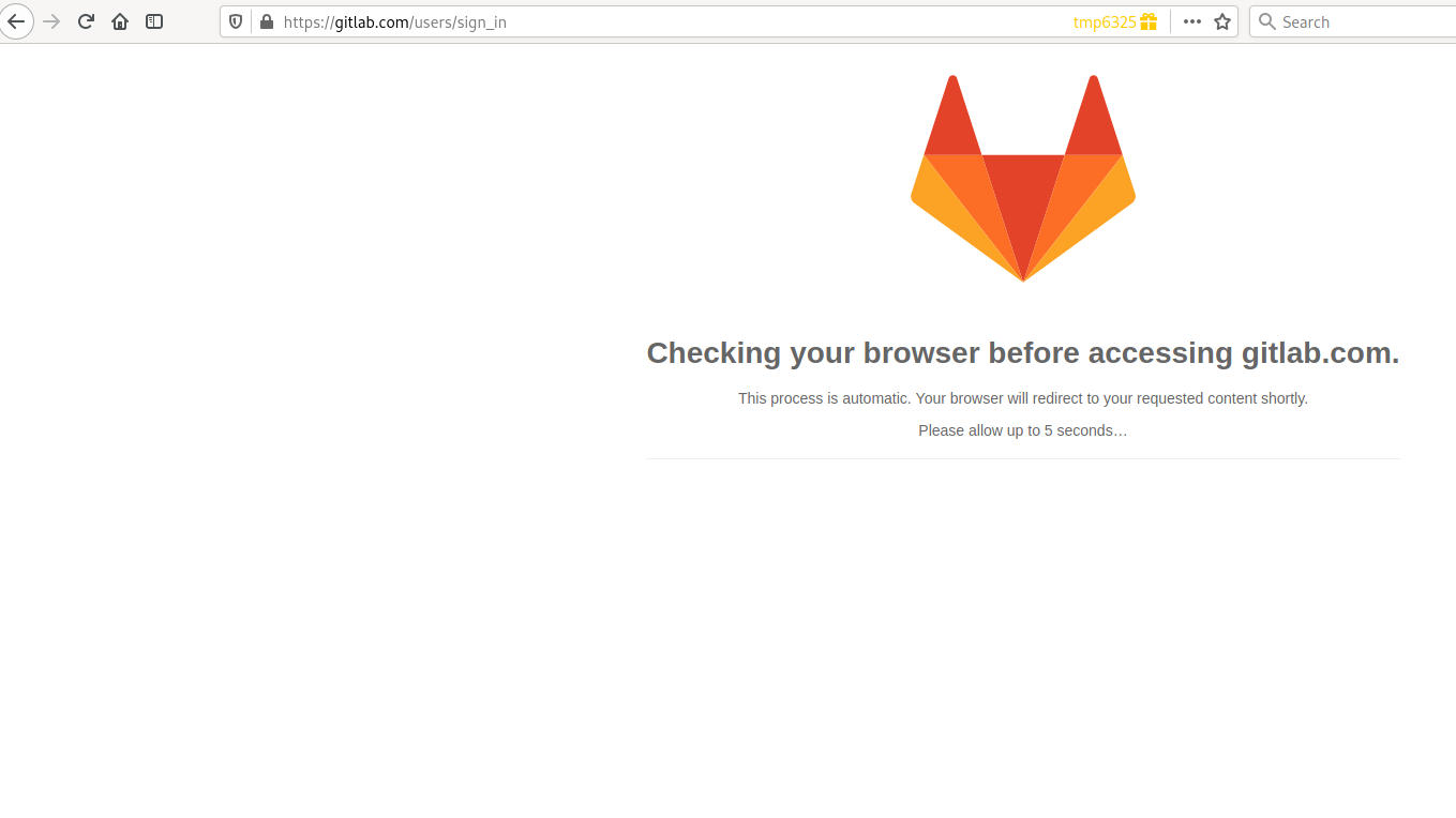 Gitlab.com loading screen due to Cloudflare check