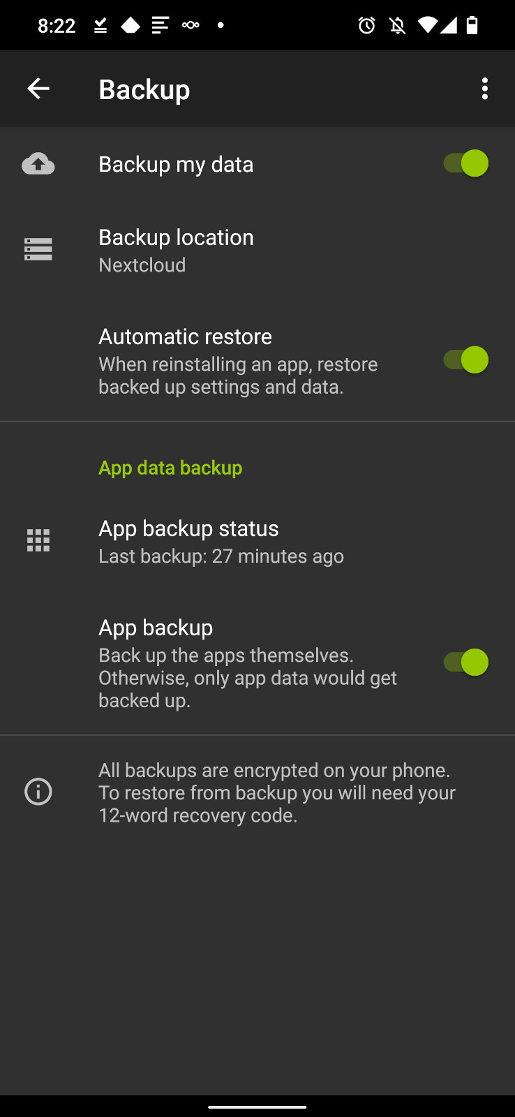 Screenshot of the Android Backup settings